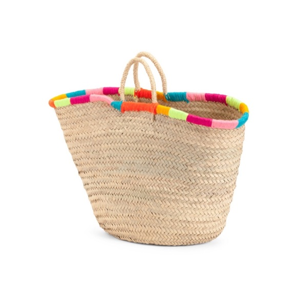 Anthropologie Handbags - NWT Straw Studio Rainbow Woven Rafia Tote
